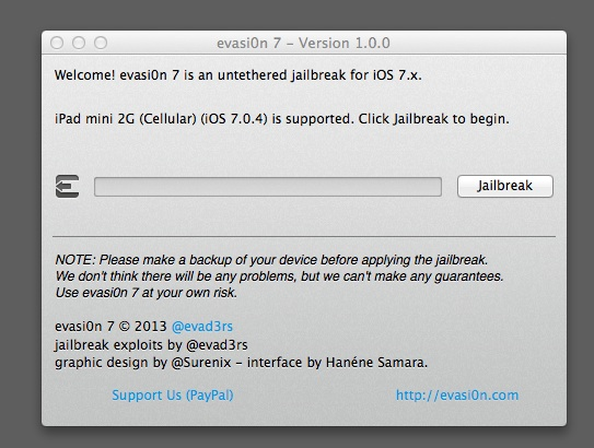 Start the evasi0n iOS 7 jailbreak.