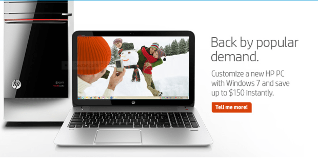 HP Windows 7 Back Sale