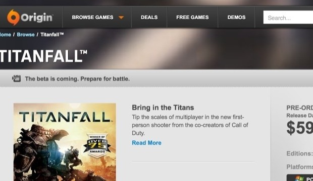 The new gone Titanfall beta message posted by Titanfall Blog.