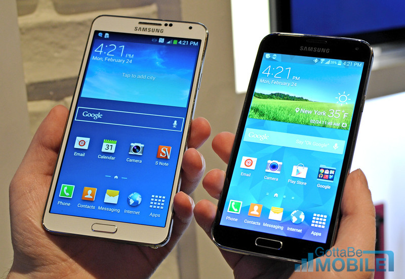 The Samsung Galaxy Note 3 and Galaxy S5 are the most recent devices from Samsung.