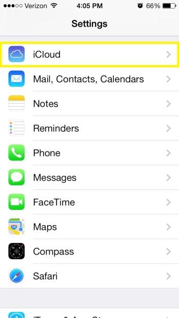 Select iCloud (iPhone)