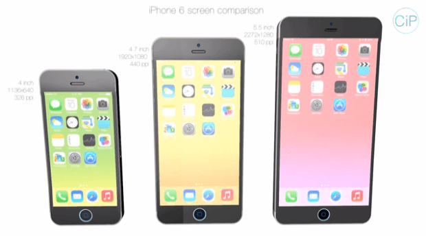 iPhone 6 concepts next to each other.