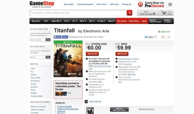 Titanfall gamestop