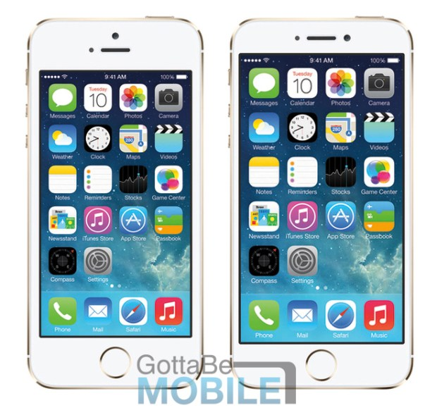 iPhone 5s vs. iPhone 6 with 4.5-inch display.