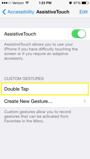 New Custom Gesture in List