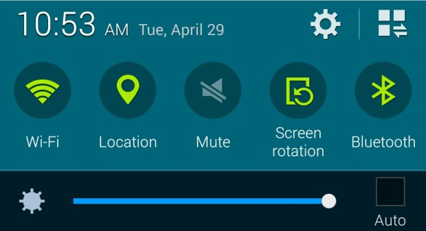 Tap on settings to set up the Galaxy S5 personal hotspot.
