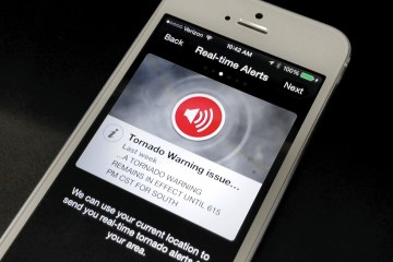 This iPhone Tornado app is free and can notify you for multiple locations.