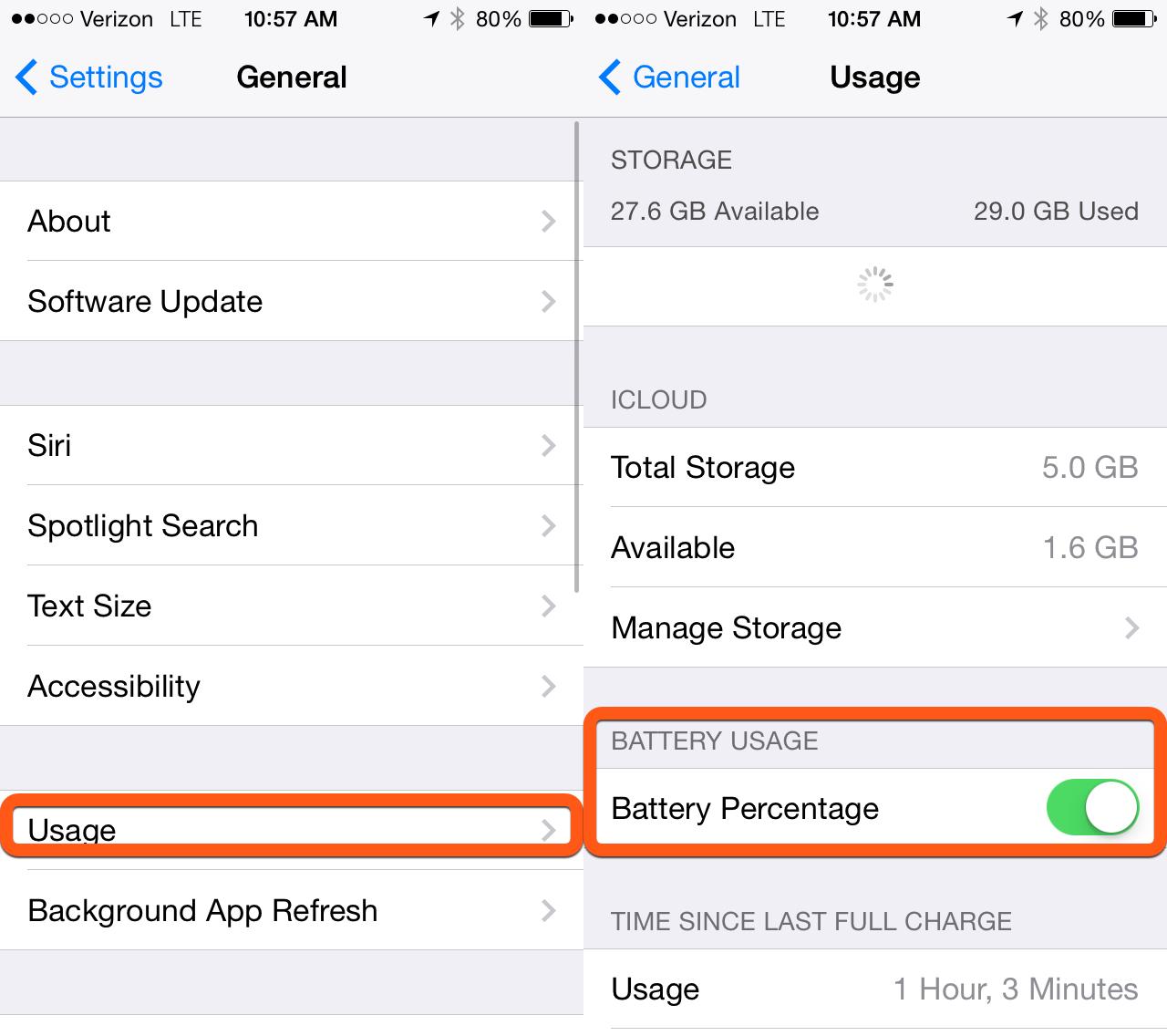 Заряд батареи iPhone в процентах 64