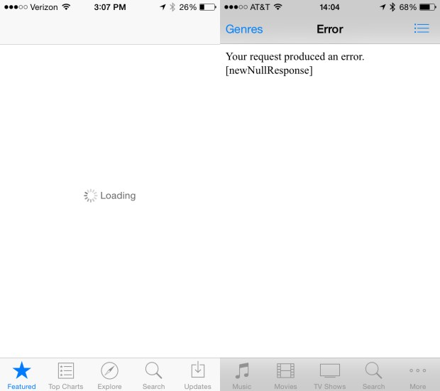 iTunes and the App Store are down for some users.