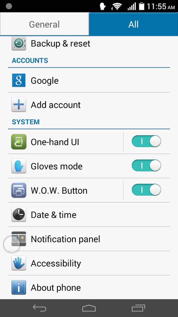 settings on evolution ui