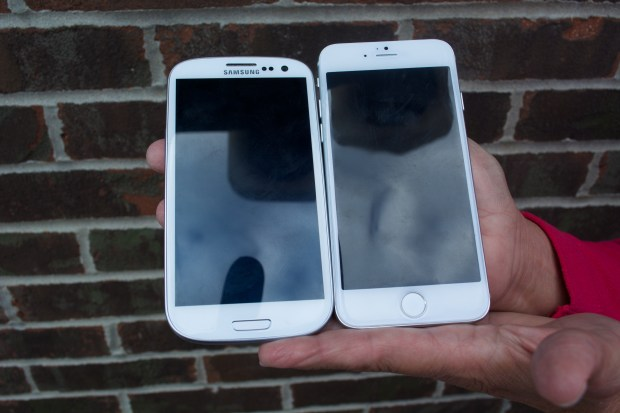 A 4.8-inch Galaxy S3 vs iPhone 6 with a 4.7-inch display.