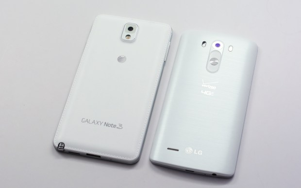 Both the LG G3 and Galaxy note 3 include plastic backs that pop off for access to storage and a replaceable battery.
