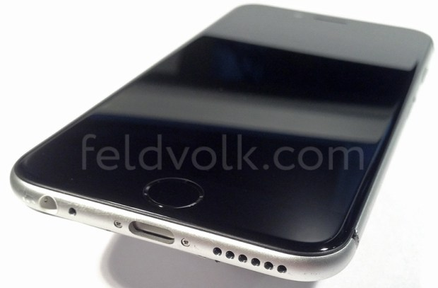 This iPhone 6 photo shows an assembled iPhone and hints at different colors for the bands on the back of the phone.