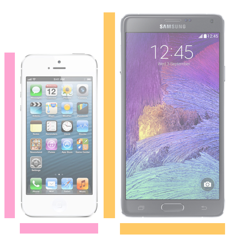 iPhone 5 vs. Galaxy Note 4 size.