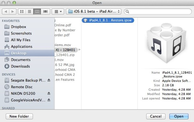 Find the right file to install the iOS 8.1 beta now.