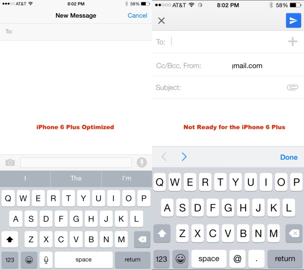Not all apps look great on the iPhone 6 Plus.