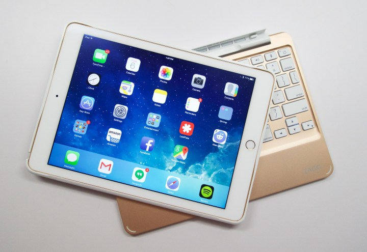 Combined the iPad Air 2 and Zagg Slim Book are a great pair.