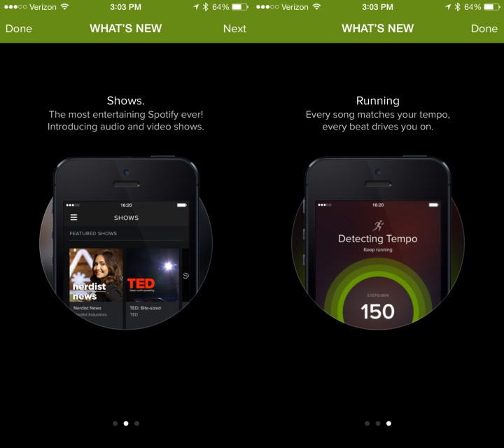 With a tap you can get new Spotify Now and Spotify Running features on iPhone.