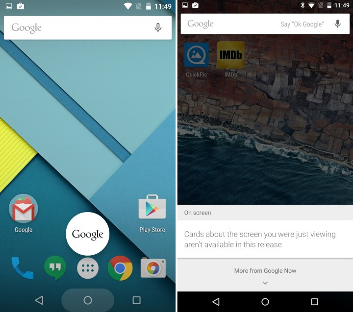 Google Now (left) vs Now on Tap (Right)