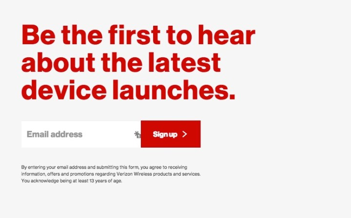 Sign up for email alerts at Verizon.
