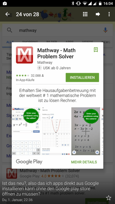 Android app listing in Google Results