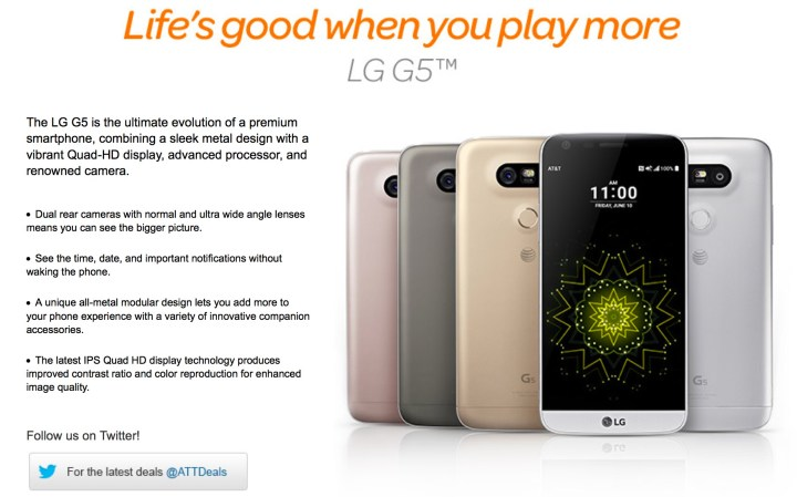 AT&T is the first US carrier to confirm the LG G5