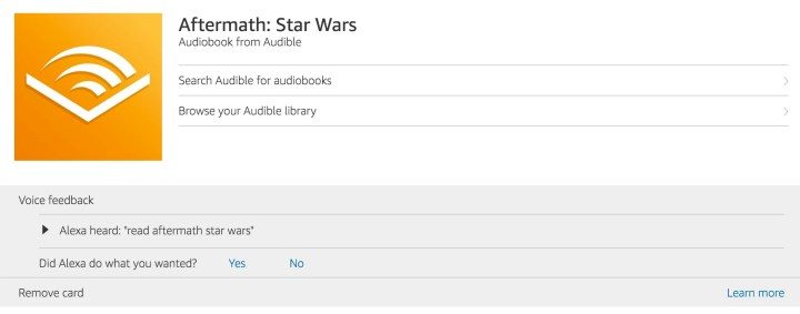 Ask Alexa to read your Audible Audio Books.