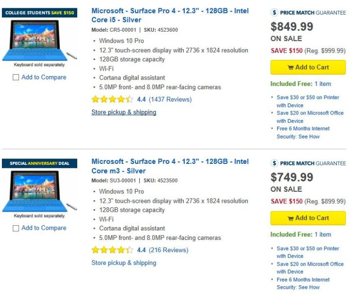 Best Buy Surface Pro 4 Deals