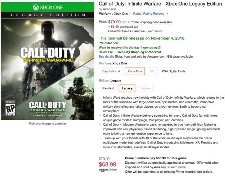 Save 20% with Amazon Infinite Warfare deals.