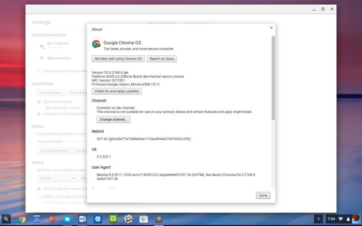 chromebook more info settings