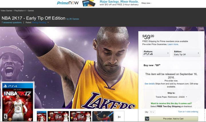 Amazon Prime Now NBA 2K17 deals