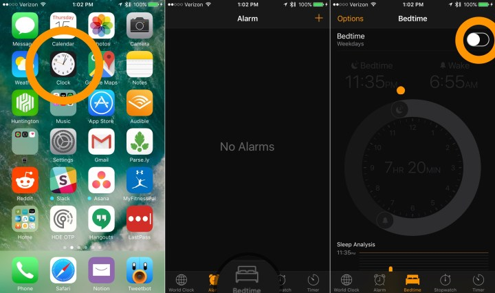 Set up the iPhone Bedtime alarm on iOS 10.