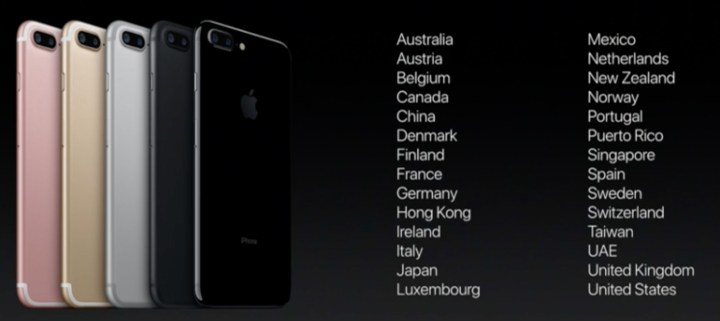 iPhone 7 release date breakdown by country.
