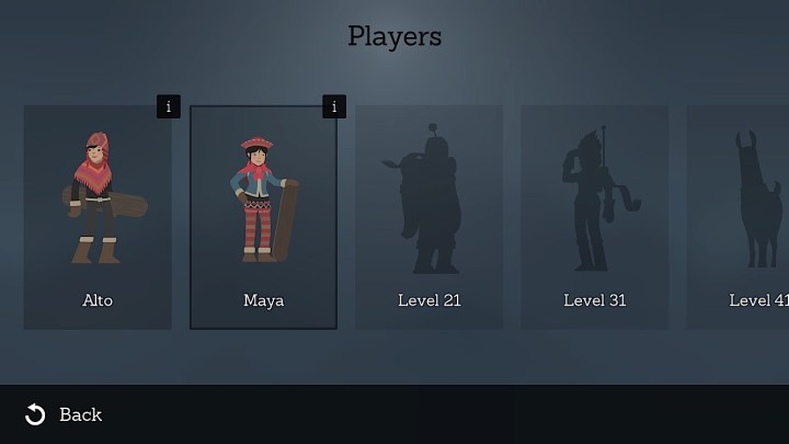 Choose a new Alto's Adventure character to do better in the game.