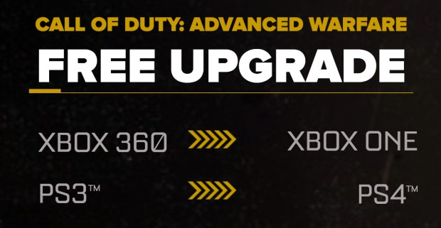 Upgrade your Call of Duty: Advanced Warfare game free when you upgrade to a new console.