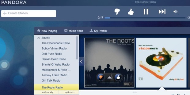 Choose station options to see Pandora thumbs down history.