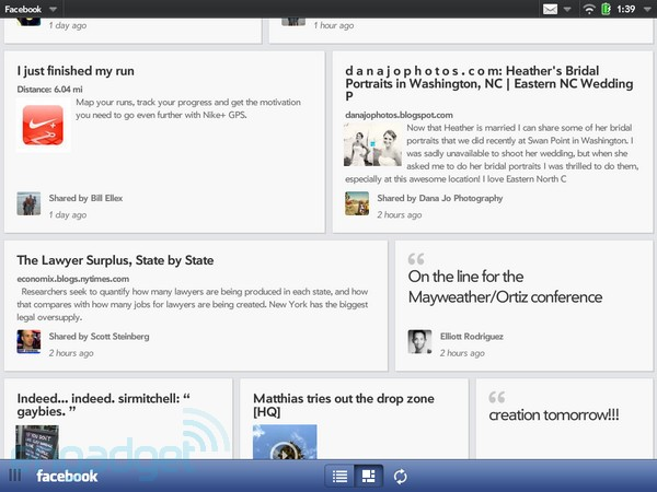 HP touchpad facebook app