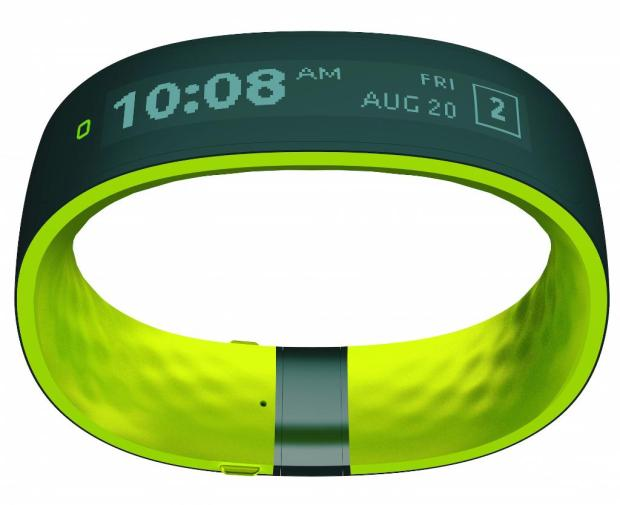 This is the HTC Grip, a smart fitness band with GPS and an Under Armor app connection.