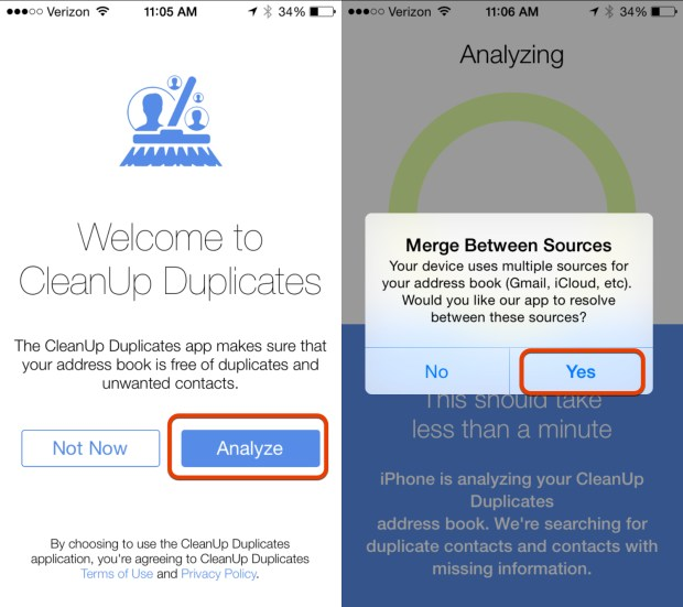 Search for duplicate contacts on the iPhone with this free app.