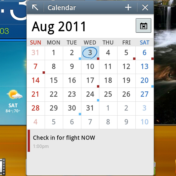TouchWiz Mini Apps Calendar