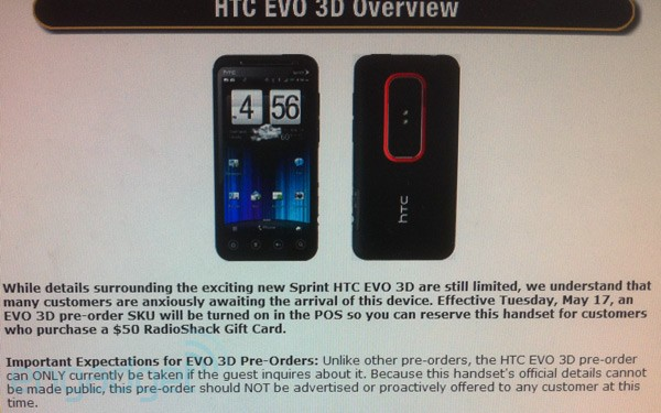 HTC EVO 3D Pre-Order at Radio Shack