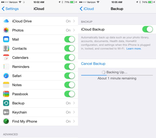 How to use iCloud backup.