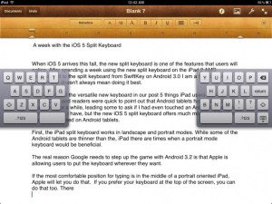 ios 5 split keyboard