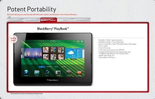 BlackBerry PlayBook for Verizon