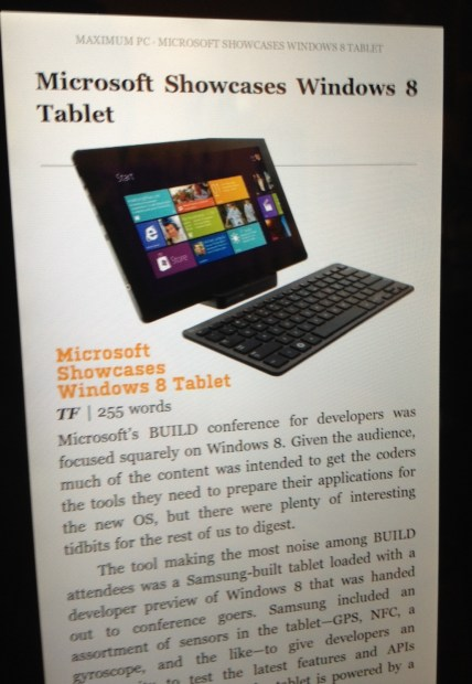 A good Kindle Fire magazine layout.
