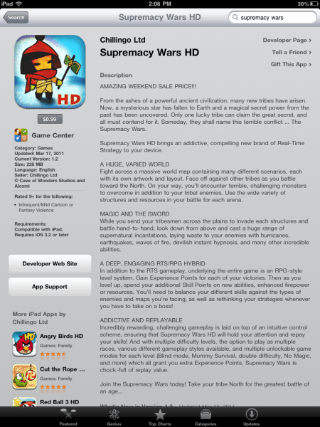 Supremecy Wars HD for iPad