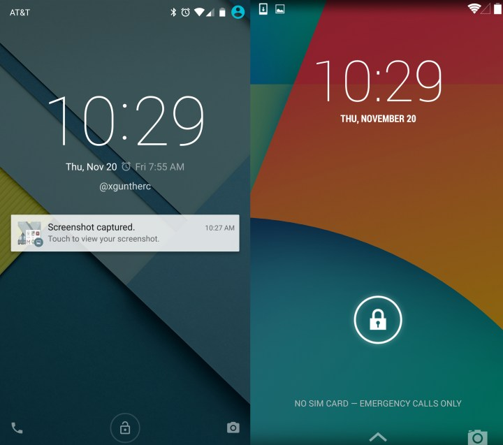 Android 5.0 vs Android 4.4 - Lockscreen