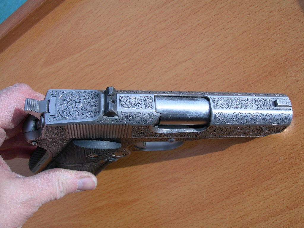American Scroll engraved Detonics 1911