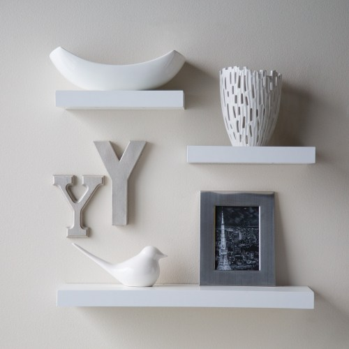 Medium Of Floating White Wall Shelves