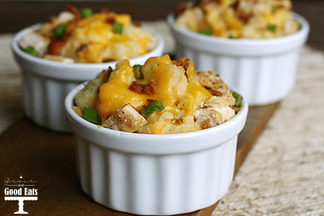 Loaded Baked Potato Casserole- serve in individual ramekins or as a big casserole. Full of chicken, potatoes, cheese, and bacon!